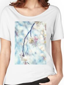 White Pink Plum Blossoms Vintage Concrete Texture Women's Relaxed Fit T-Shirt