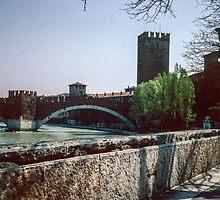 Scaliger bridge across Adige Verona Italy 198404190014m  by Fred Mitchell