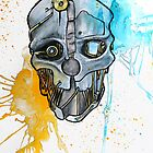 Corvo's Mask - Dishonored - Ink Splatter by quigalchemist