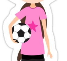 Cute cartoon girl holding a soccer ball, pink Sticker