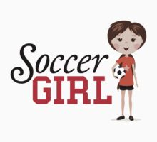 Cute cartoon soccer girl stickers, orange and red by MheaDesign