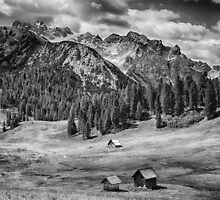 Alpine meadow black and white mountain landscape fields and barns in the Dolomites - bw wall art - Su fra le montagne by visionitaliane