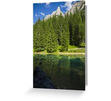 Green alpine lake in the summer and mountain peak in the Alps - Il paradiso verde Greeting Card