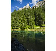 Green alpine lake in the summer and mountain peak in the Alps - Il paradiso verde Photographic Print