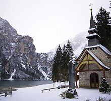 Church in the snow Winter scene from the Alps alpine lake Braies landscape color fine art - La Chiesetta nella Neve by visionitaliane