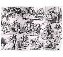 Alice in Wonderland | Toile de Jouy | Pink & Black  Poster