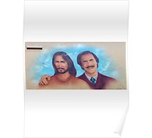 Ron Burgandy And Jesus Mobile Merchandise Poster