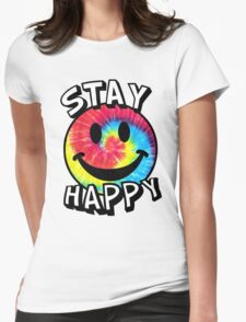 Stay Happy Smiley Face Womens Fitted T-Shirt