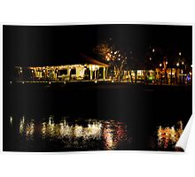 Villages by lake at night Poster