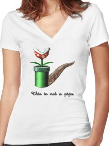 Super Mario for Magritte (English Version) Women's Fitted V-Neck T-Shirt