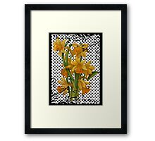 Antique Daffodils on Black Polka Dots Framed Print