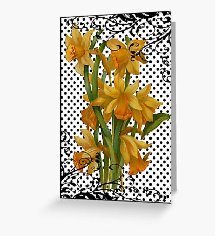 Antique Daffodils on Black Polka Dots Greeting Card