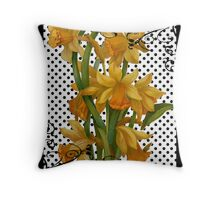 Antique Daffodils on Black Polka Dots Throw Pillow