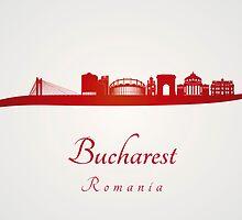 Bucharest skyline in red by paulrommer