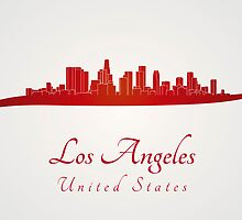 Los Angeles skyline in red by Pablo Romero