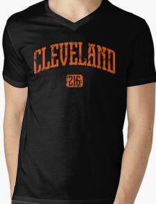 Cleveland 216 (Orange Print) Mens V-Neck T-Shirt