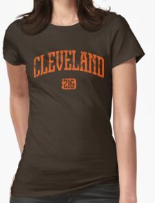 Cleveland 216 (Orange Print) Womens Fitted T-Shirt