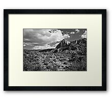 Sedona Desert Under Cloudy Skies in Black and White Framed Print