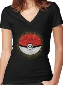 Electric Type Pokeball Women's Fitted V-Neck T-Shirt