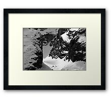 snow in the dolomites mountains - fine art black and white - rock and snow Framed Print