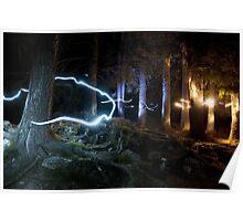 Fairies in the forest fine art night time long exposure color - Ballando con le Fate Poster