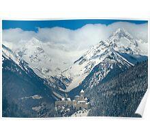 Home decor castle in the Alps in winter wall art color - A guardia della Valle Poster