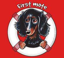 Longhaired Black/Tan Dachshund : First Mate One Piece - Short Sleeve