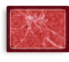 Mottled Red Poinsettia 2 Outlined Red Canvas Print