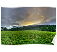 Dawn on a green pasture in the Alps landscape mountain photography color wall art - Sorge il Sole Poster