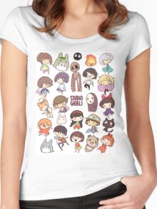 Studio Ghibli - Chibi Characters Collaboration [VERTICAL] Women's Fitted Scoop T-Shirt