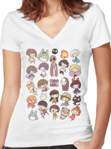 Studio Ghibli - Chibi Characters Collaboration [VERTICAL] Women's Fitted V-Neck T-Shirt