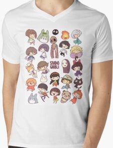 Studio Ghibli - Chibi Characters Collaboration [VERTICAL] Mens V-Neck T-Shirt