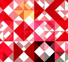 Mottled Red Poinsettia 2 Abstract Triangles 1 by Christopher Johnson