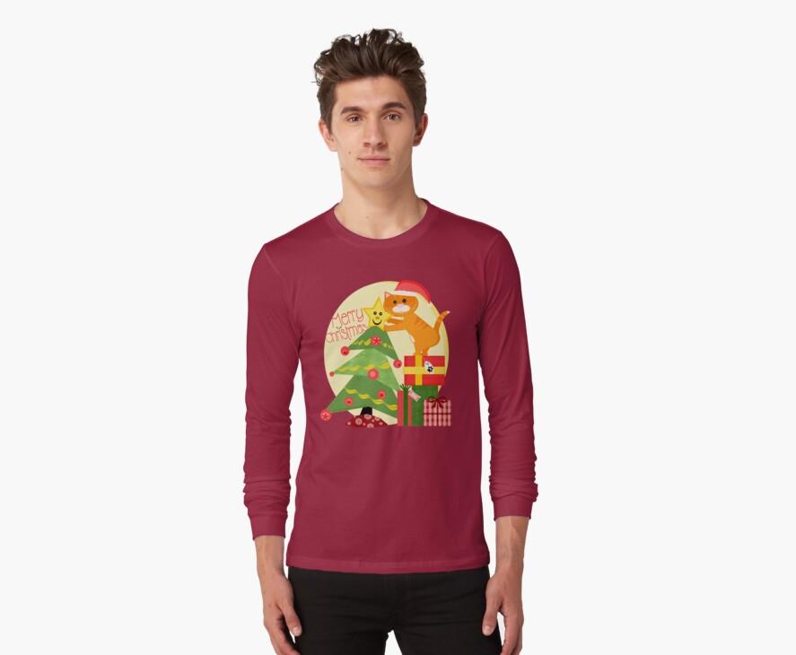 Christmas Santa Tabby Cat T-Shirt by Jamie Wogan Edwards