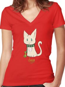 Chibi Draco Cat Women's Fitted V-Neck T-Shirt