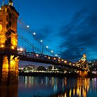 John A. Roebling Suspension Bridge at Dusk by thatche2