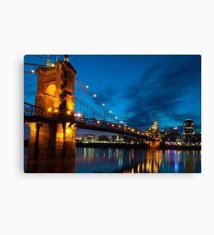 John A. Roebling Suspension Bridge at Dusk Canvas Print