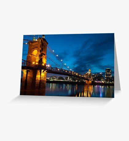 John A. Roebling Suspension Bridge at Dusk Greeting Card