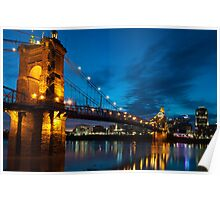 John A. Roebling Suspension Bridge at Dusk Poster