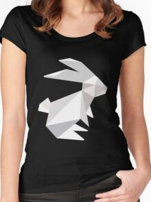 origami bunny  Women's Fitted Scoop T-Shirt