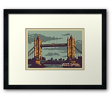 Tower Bridge vintage style illustration Framed Print