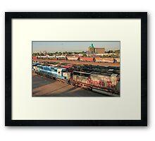 Minneapolis Skyline and Railroad Yard Framed Print