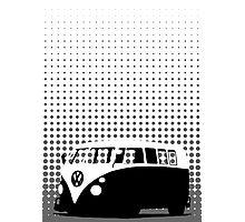 Halftone - VW Splitty Camper Van Photographic Print