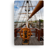 Ship's Wheel, The Dunbrody famine ship, New Ross, Co. Wexford, Ireland Canvas Print
