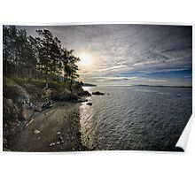 View of beach in the North West at sunset - Half water Half land Poster