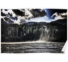 Lake with wind landscape naturalistic water whirlwind under dramatic sky color wall art - L'incontro Poster