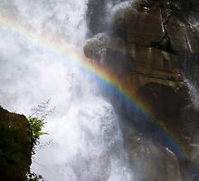 Close up waterfall with rainbow Nooksack falls landscape color wall art - Il Salto della Luce by visionitaliane