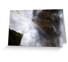 Close up waterfall with rainbow Nooksack falls landscape color wall art - Il Salto della Luce Greeting Card