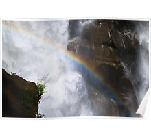 Close up waterfall with rainbow Nooksack falls landscape color wall art - Il Salto della Luce Poster