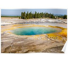 Warm pool hot spring turquoise water Yellowstone park landscape - L'Occhio del Profondo Poster